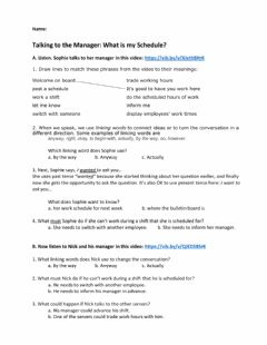Interactive worksheet Talking to the Manager: Work Schedules