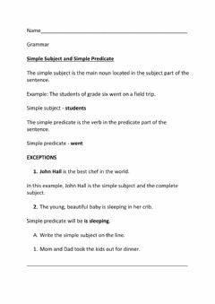 Interactive worksheet Simple Subject and Simple Predicate