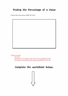 Interactive worksheet Finding the Percentage of a Value