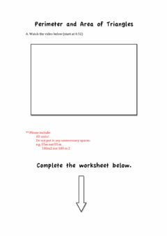 Interactive worksheet Perimeter and Area of Triangles