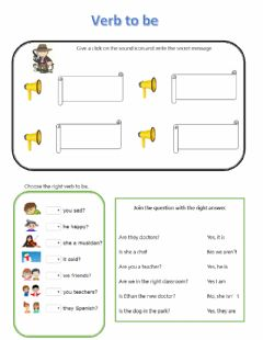 Interactive worksheet Verb to be part 2