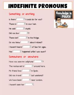 Interactive worksheet Indefinite Pronouns