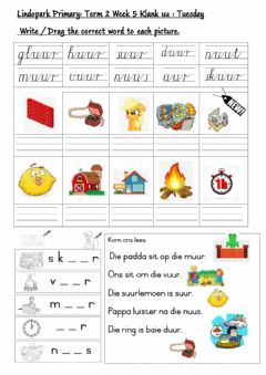 Interactive worksheet Grade 3 FAL:Afrikaans Term 2 week 5 uu-klank Tuesday