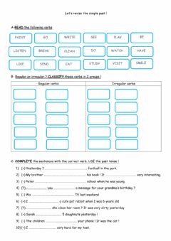 Interactive worksheet Let's revise simple past