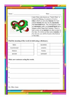 Interactive worksheet Lake Chini Year 5