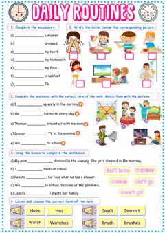 Interactive worksheet Daily routines worksheet