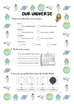 Interactive worksheet Our Universe Y2