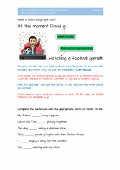 Interactive worksheet 007 writing. present continuous