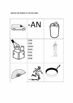 Ficha interactiva -an worksheet match words to pictures (black and white)