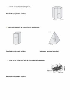 Interactive worksheet Volumen primas y pirámides
