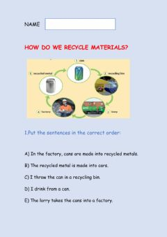 Interactive worksheet How to recycle materials