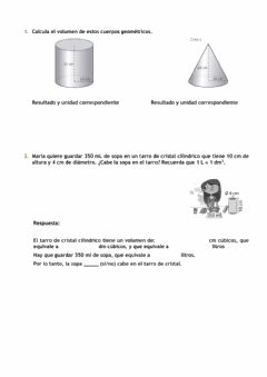 Interactive worksheet Volumen de cilindro y cono