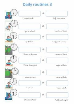 Interactive worksheet Daily routines 3
