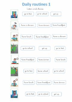 Interactive worksheet Daily routines 1