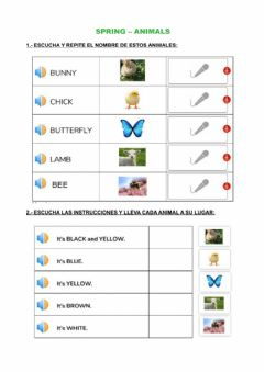 Interactive worksheet Spring animals