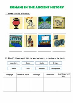 Interactive worksheet Romans in the ancient history