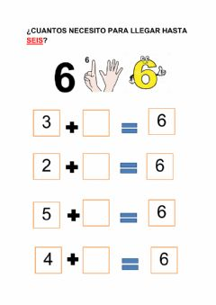 Interactive worksheet Sumas que dan 6
