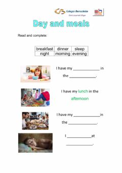 Interactive worksheet Day meals