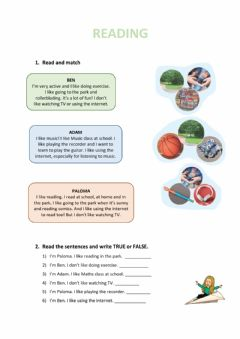 Interactive worksheet Reading about free time activities