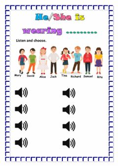 Interactive worksheet Clothes - Listening