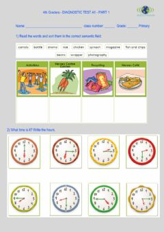 Interactive worksheet 4th Graders Diagnostic Test