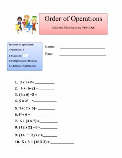 Ficha interactiva Order of Operations
