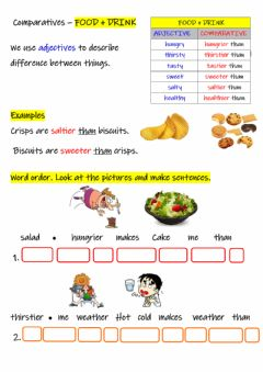 Interactive worksheet Comparatives Food and Drink