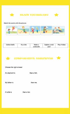 Interactive worksheet Beach vocabulary and comparative adjectives