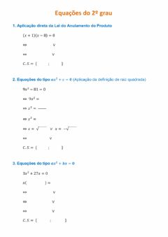 Interactive worksheet Equações do 2.º grau
