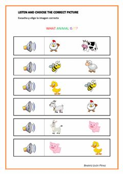Interactive worksheet What animal is it? Listen and choose