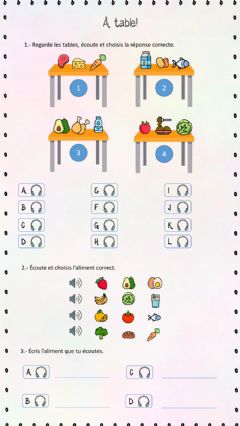 Interactive worksheet À table!