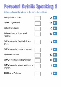 Interactive worksheet Listen and match personal information 2