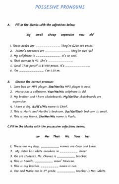 Interactive worksheet Possesive pronouns & Possesive 'S