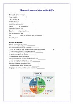 Ficha interactiva Place et accord des adjectifs
