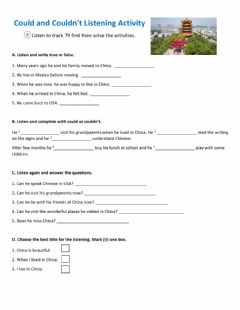 Interactive worksheet Could for past ability