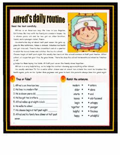 Interactive worksheet Daily routine , reading comprenhesion