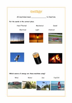 Interactive worksheet Energy and machines safety