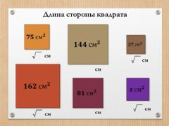Interactive worksheet Сторона квадрата