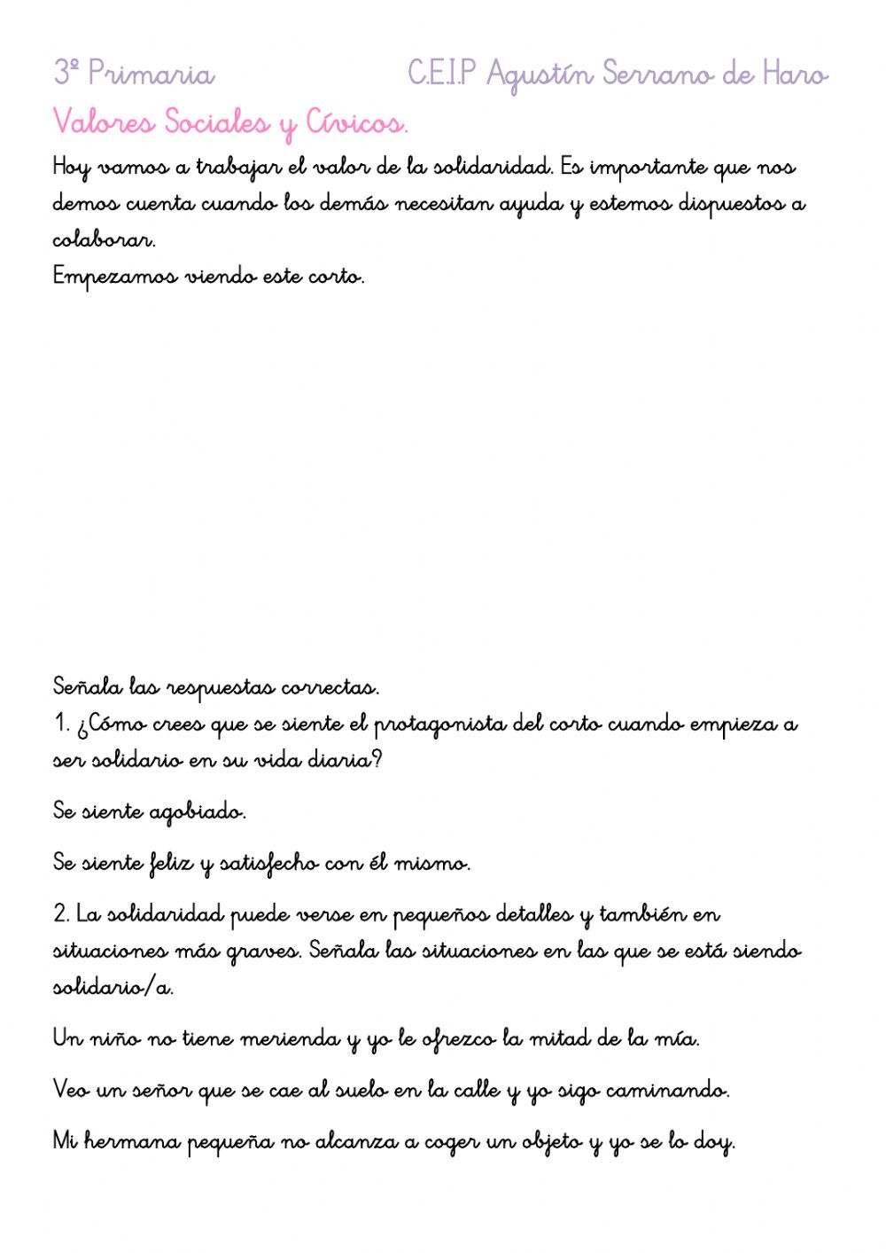 Valor De La Solidaridad Worksheet