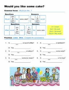 Interactive worksheet Would you like some cake?