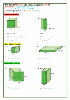 Interactive worksheet Volume