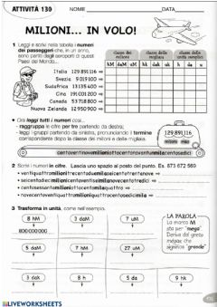 Interactive worksheet GRANDI NUMERI