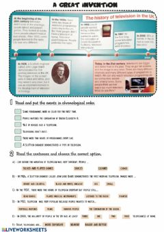 Interactive worksheet A great invention: the history of television in UK
