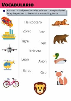Interactive worksheet Vocabulario: arrastra imágenes