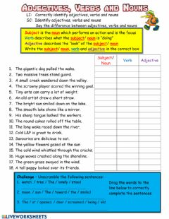 Interactive worksheet Adjectives Verbs and Nouns