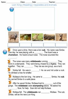 Ficha interactiva Lion King - Reading - Opposites and Animals