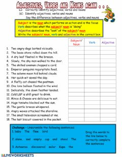 Interactive worksheet Adjectives Verbs and Nouns Again