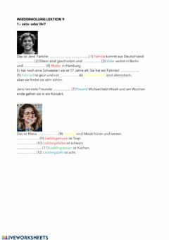 Interactive worksheet Possessivartikel sein--ihr-
