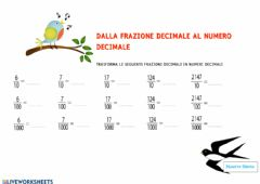 Interactive worksheet Frazioni decimali