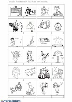 Interactive worksheet Thnigs I can do, actions, sports - English Class A1 unit 5